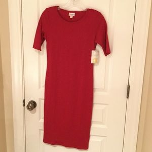 LULAROE Julia Dress Solid Magenta XXS NEW